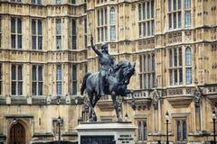 Richard Coeur de Lion-standbeeld Stock Afbeeldingen