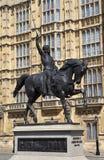 Richard den Lionheart statyn i London Fotografering för Bildbyråer