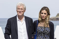 Richard Gere. Actor Richard Gere and girlfriend Alejandra Silva during the 64 San Sebastian International Film Festival Royalty Free Stock Image