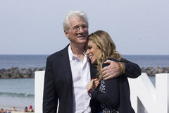 Richard Gere. Actor Richard Gere with his girlfriend Alejandra Silva during the 64 San Sebastian International Film Festival Royalty Free Stock Photography