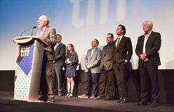 Director and actors of `Three Christs` at toronto international film festival. Richard Gere and actors at the `Three Christs` premiere during the 2017 Toronto Royalty Free Stock Photo