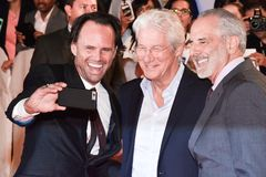 Richard Gere Film premiere of `Three Christs` at TIFF17. R:LDirector Jon Avnet, actors Walton Goggins and Richard Gere attend the `Three Christs` premiere during Stock Image