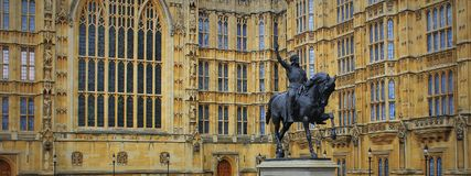 Richard I statue outside Palace of Westminster, Houses of Parliament. London, UK.  Royalty Free Stock Images