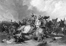 Richard III at the Battle of Bosworth. Richard III and the Earl of Richmond at the Battle of Bosworth in 1485 on engraving from the 1800s. Engraved by J.Rogers Royalty Free Stock Image