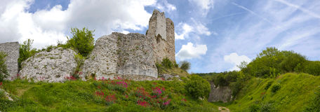 Richard Lion Heart Castle - Panorama. The defensive walls ruins of the Richard Lion Heart castle, in Le Petit Andely, Normandy, France Royalty Free Stock Photos