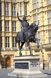 Richard Lionheart statue Westminster London. Richard Coeur de Lion is a Grade II listed equestrian statue of the 12th-century English monarch Richard I, also Royalty Free Stock Photography