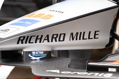 Richard Mille sponsor banner on race car. Berlin, Germany - May 25, 2019: Swiss watchmaking brand Richard Mille sponsor banner on a race car participating in the royalty free stock images