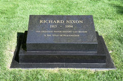 Richard Nixon Headstone. YORBA LINDA, CALIFORNIA - FEBRUARY 24, 2017: President Richard M Nixon Grave marker. The 37th president and his wife are buried at the royalty free stock photography