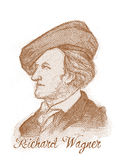Richard Wagner Engraving Style Sketch Portrait Royalty Free Stock Photos