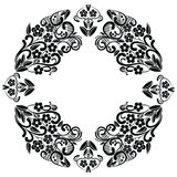Richelieu embroidery stitches inspired lace pattern with floral elements: leaves, swirl, leaves in black and white in lace in oval Stock Photos