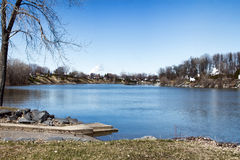 Richelieu River at spring, Sorel-Tracy, Quebec, Canada Royalty Free Stock Images