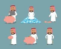 Riches et jeu de caractères arabe faillite d'homme d'affaires illustration libre de droits