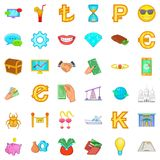 Riches icons set, cartoon style Royalty Free Stock Photo