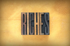 Riches Letterpress Royalty Free Stock Photos