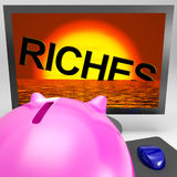 Riches Sinking On Monitor Shows Bankruptcy Stock Images