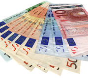Richesse de l'épargne, euro coloré différent d'isolement Photo libre de droits