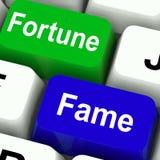 Richesse ou publicité d'exposition de clés de renommée de fortune Photos libres de droits