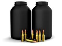 Richiami con la polvere di pistola, munizioni, munizioni Immagine Stock