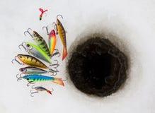 Richiami di pesca del ghiaccio Fotografia Stock Libera da Diritti