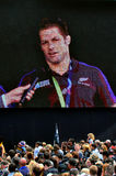 Richie McCaw speek to the crowd in Victoria Park Auckland, New Z Royalty Free Stock Photo