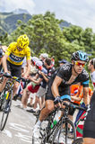 Richie Porte和克里斯攀登Alpe D'Huez的Froome 免版税库存照片