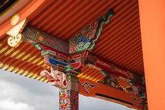Architectural eaves and column detail at Kiyomizu-dera Buddhist Temple, Kyoto, Japan. Richly decorated Architectural eaves and column detail at Kyo-Do Sutra Hall stock images