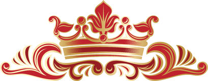 Richly decorated border with crown. Stock Photo