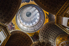 Richly decorated ceiling in the interior of Kazan Cathedral in S Stock Photos