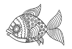 Richly decorated fish hand drawing. Richly decorated fish vector hand drawing illustration Royalty Free Stock Images