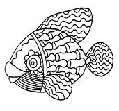 Richly decorated fish hand drawing. Richly decorated fish vector hand drawing illustration Stock Images