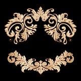 Richly decorated golden vintage baroque scroll design frame flor Royalty Free Stock Image