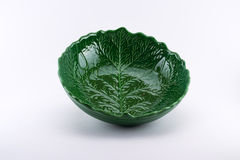 Richly decorated green bowl looking like a leaf Stock Photography