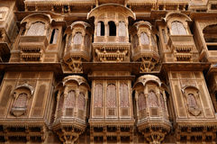 Richly decorated houses in India. Richly decorated houses of merchants from India in the Rajasthan state Royalty Free Stock Photo