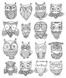 Richly decorated owls Stock Photography