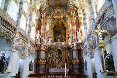 Richly decorated rococo pilgrimage church, White church Beieren Germany. The rococo pilgrimage church, For the Savior Savior in Wies, which was included in the Stock Images