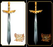 Richly decorated with a sword on a black and white background. Royalty Free Stock Photos