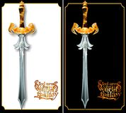 Richly decorated with a sword on a black and white background. Stock Photos