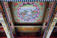 Richly Decorated Temple Ceiling Stock Photo