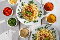 Richly filled dinner of spaghetti Stock Images