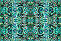 Richly jeweled seamless pattern. Heavily jeweled seamless pattern background mosaic. Blue turquoise Royalty Free Stock Photos
