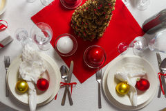 Richly laid table ready for Christmas Eve Royalty Free Stock Photography