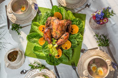 Richly set table for Thanksgiving with turkey and soup Stock Image