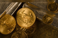 Richly textured American Gold Eagles with Silver Bars. American Gold Eagle Coins with Silver Bars with a deep texturizing color stock photography