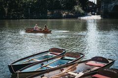 Free Richmond Bridge Boat Hire Boats Moored On The River Thames In Ri Royalty Free Stock Image - 130194996