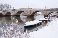 Richmond bridge covered by snow Royalty Free Stock Photo