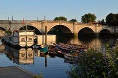 Richmond Bridge, UK. The golden hour at Richmond Bridge 18th-century stone arch bridge over the river Thames Royalty Free Stock Photos