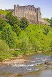 Richmond Castle ed il fiume Swale fotografie stock libere da diritti