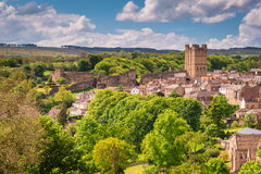 Richmond Castle Skyline. The market town of Richmond is sited at the very edge of the North Yorkshire Dales, on the banks of River Swale Royalty Free Stock Photography