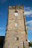 Richmond Church Tower. The stone wall built tower and clock of the church at Richmond Marketplace in North Yorkshire, England Stock Photography