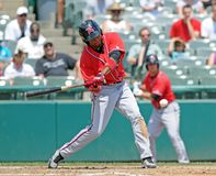 Richmond Flying Squirrels batter - swing. TRENTON, NJ - JULY 31: Richmond Flying Squirrels right fielder Francisco Peguero swings at a pitch during a game stock images